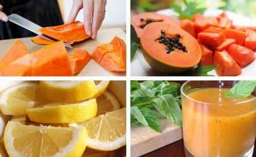 Smoothie cu lămâie și papaya pentru detoxifierea stomacului