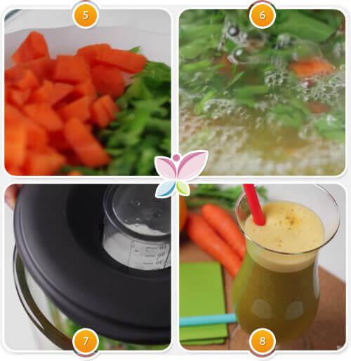 Acest suc de morcovi și portocale este foarte ușor de preparat