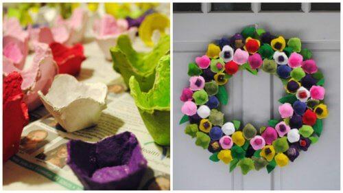 Cofrajele de ouă transformate în coroană de flori