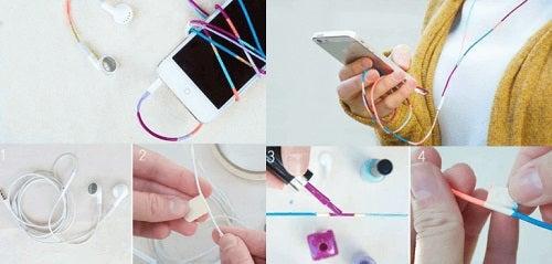 Oja poate fi folosită pentru vopsirea cablurilor de la căști