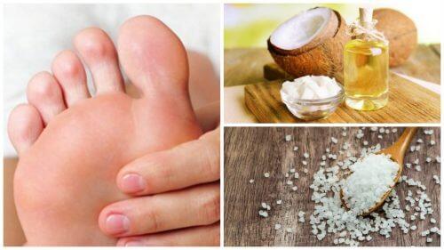 Remediu pentru exfolierea picioarelor cu sare și cocos
