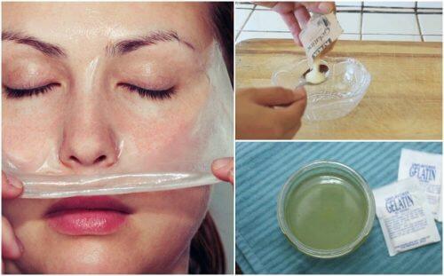 Mască facială cu lapte și gelatină pentru puncte negre