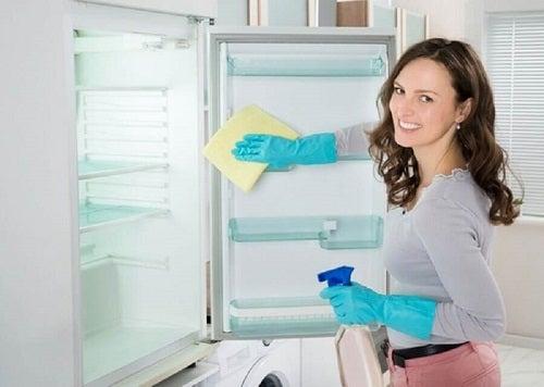 Frigider dezinfectat cu soluții de curățat cu bicarbonat și oțet