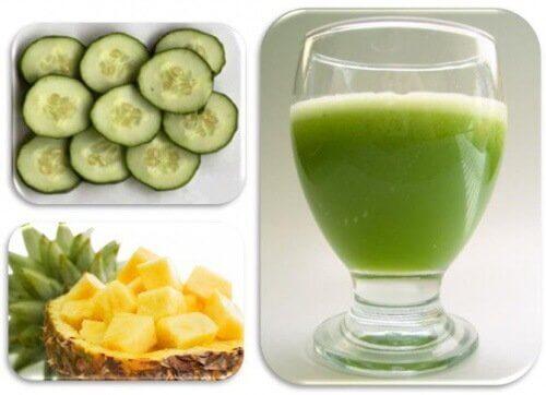 Castravete și ananas în smoothie-uri cu fructe pentru slăbit