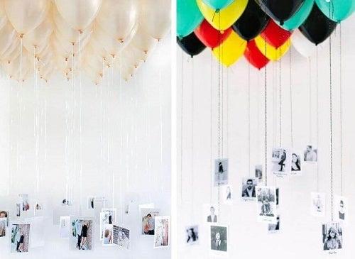 Decorațiuni cu baloane și fotografii