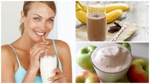Femeie care bea shake proteic de fructe