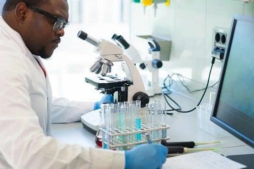 Medic ce studiază la microscop încărcătura virală