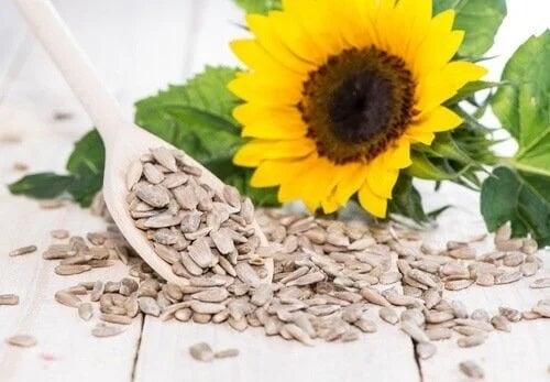 Lingură cu semințe de floarea soarelui