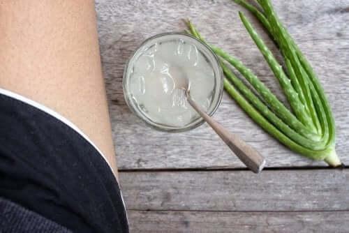 Persoană stând lângă un borcan de gel de aloe vera