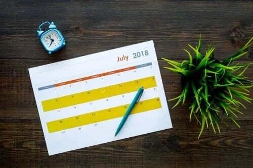 Calendar pentru treburile casnice