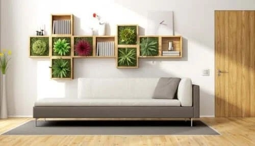 Living decorat cu plante