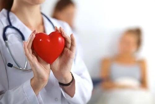 Medic care ține în mână o inimă